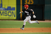 Chattanooga Lookouts Chris Okey (19) running the bases during a Southern League game against the Birmingham Barons on May 1, 2019 at Regions Field in Birmingham, Alabama.  Chattanooga defeated Birmingham 5-0.  (Mike Janes/Four Seam Images)