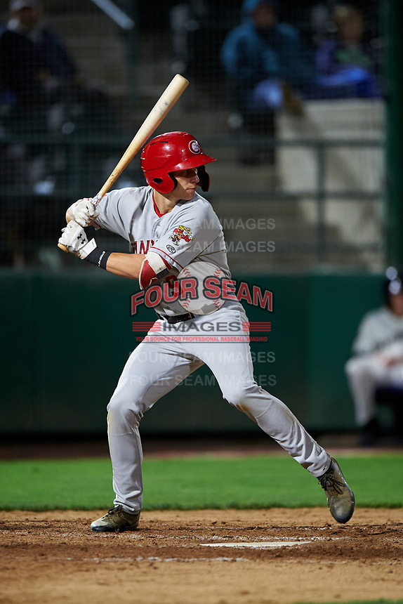 Vancouver Canadians Trevor Schwecke (9) at bat during a Northwest League game against the Tri-City Dust Devils at Gesa Stadium on August 21, 2019 in Pasco, Washington. Vancouver defeated Tri-City 1-0. (Zachary Lucy/Four Seam Images)