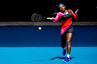 14th February 2021, Melbourne, Victoria, Australia; Serena Williams of the United States of America returns the ball during round 4 of the 2021 Australian Open on February 14 2020, at Melbourne Park in Melbourne, Australia.