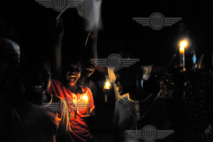 People celebrating in the streets just before midnight on the eve of the declaration of independence from the North. On 9 July 2011 South Sudan became the world's newest nation after seceding from the North. .