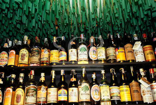Brazil. Display of many different brands of cachaca sugar cane alcohol.