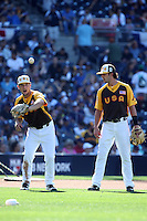 Alex Bregman and Dansby Swanson of the USA Team during a game against the World Team during The Futures Game at Petco Park on July 10, 2016 in San Diego, California. World Team defeated USA Team, 11-3. (Larry Goren/Four Seam Images)