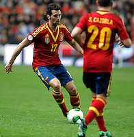 Spain's Alvaro Arbeloa (l) and Santi Cazorladuring international match of the qualifiers for the FIFA World Cup Brazil 2014.March 22,2013.(ALTERPHOTOS/Victor Blanco)
