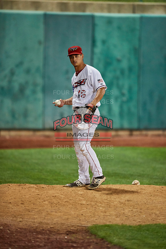 Daniel Procopio (16) of the Orem Owlz warms up in the outfield bullpen prior to entering the game against the Ogden Raptors at Home of the Owlz on September 11, 2017 in Orem, Utah. Ogden defeated Orem 7-3 to win the South Division Championship. (Stephen Smith/Four Seam Images)
