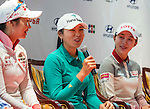 Hur Mi-jung (c) of Korea speaks at the press conference ahead of the Hyundai China Ladies Open 2014 on December 10 2014 at Mission Hills Shenzhen, in Shenzhen, China. Photo by Li Man Yuen / Power Sport Images