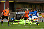 13.12.2020 Dundee Utd v Rangers: Alfredo Morelos fails to convert a decent chance in front of goal as keeper Benjamin Siegrist gets a touch