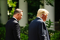 US President Donald J. Trump and Polish President Andrzej Duda (L) depart after holding a joint press conference in the Rose Garden of the White House in Washington, DC, USA, 24 June 2020. Duda, a conservative nationalist facing a tight re-election race back home, is the first foreign leader to visit the White House in more than three months.<br /> Credit: Jim LoScalzo / Pool via CNP/AdMedia