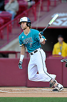 Third baseman Zach Remillard (7) of the Coastal Carolina Chanticleers bats in a game against the South Carolina Gamecocks on Tuesday, April 5, 2016, at Founders Park in Columbia, South Carolina. South Carolina won, 4-2. (Tom Priddy/Four Seam Images)