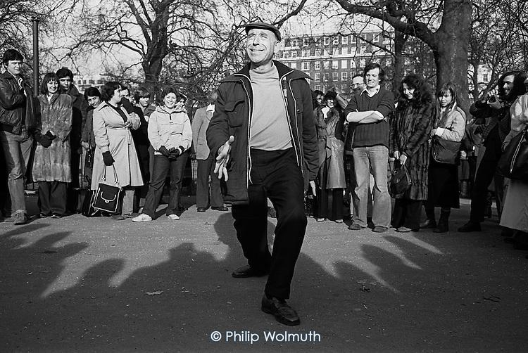 Norman Schlund,  Speakers Corner, Hyde Park, London; February 1979.