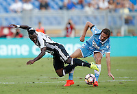Calcio, Serie A: Lazio vs Juventus. Roma, stadio Olimpico, 27 agosto 2016.<br /> Juventus' Kwadwo Asamoah, left, is fouled by Lazio's Senad Lulic during the Serie A soccer match between Lazio and Juventus, at Rome's Olympic stadium, 27 August 2016. Juventus won 1-0.<br /> UPDATE IMAGES PRESS/Isabella Bonotto