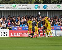 9th October 2021;  VBS Community Stadium, Sutton, London; EFL League 2 football, Sutton United versus Port Vale; Ben Garrity (8) of Port Vale wins a header.