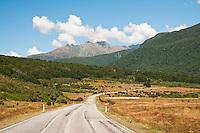 The Haast Pass road near Makaroa - Central Otago, Mt. Aspiring N.P., New Zealand