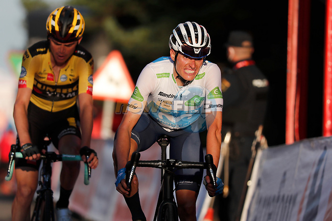 White Jersey Enric Mas Nicolau (ESP) Movistar Team and Sepp Kuss (USA) Team Jumbo-Visma cross the finish line in 3rd place at the end of Stage 8 of the Vuelta Espana 2020 running 160km from Logroño to Alto de Moncalvillo, Spain. 28th October 2020.   <br /> Picture: Luis Angel Gomez/PhotoSportGomez | Cyclefile<br /> <br /> All photos usage must carry mandatory copyright credit (© Cyclefile | Luis Angel Gomez/PhotoSportGomez)