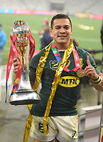 South Africa winger Cheslin Colbe lifts the Castle Lager Series trophy after the Springboks beat the Lions 19-16 in the third test to win the series 2-1.<br /> British & Irish Lions v South Africa,  3rd Test, Cape Town Stadium, Cape Town, South Africa,  Saturday 7th August 2021. <br /> Please credit: FOTOSPORT/DAVID GIBSON