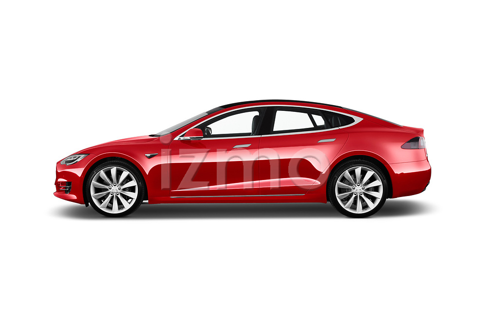 Car Driver side profile view of a 2019 Tesla Model-S 100D 5 Door Hatchback Side View