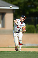 High Point-Thomasville HiToms third baseman Zach Gelof (26) (UVA) warms up between innings of the game against the Statesville Owls at Finch Field on July 19, 2020 in Thomasville, NC. The HiToms defeated the Owls 21-0. (Brian Westerholt/Four Seam Images)
