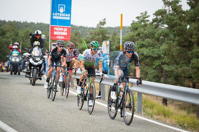 Romain Bardet (FRA) and Martijn Tusveld (NED) Team DSM, Julen Amezqueta (ESP) Caja Rural-Seguros RGA and Rafal Majka (POL) UAE Team Emirates in the breakaway during Stage 9 of La Vuelta d'Espana 2021, running 188km from Puerto Lumbreras to Alto de Velefique, Spain. 22nd August 2021.    <br /> Picture: Cxcling | Cyclefile<br /> <br /> All photos usage must carry mandatory copyright credit (© Cyclefile | Cxcling)
