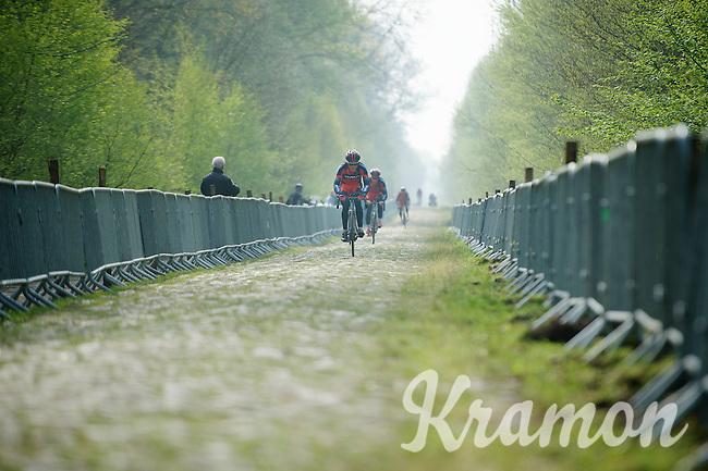 Greg Van Avermaet (BEL/BMC) & teammates through sector 18: Pavé de la Trouée d'Arenberg<br /> <br /> 2014 Paris-Roubaix reconnaissance