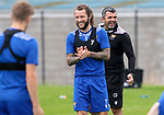 St Johnstone Training...25.08.21<br />Manager Callum Davidson pictured with Stevie May during training at McDiarmid Park this morning ahead of tomorrow's Europa Conference League qualifier second leg against Lask<br />Picture by Graeme Hart.<br />Copyright Perthshire Picture Agency<br />Tel: 01738 623350  Mobile: 07990 594431
