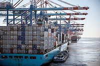 Containers are loaded onto the Mary Maersk, the largest container ship in the world, at Bremerhaven.