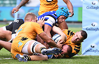 31st August 2020; Recreation Ground, Bath, Somerset, England; English Premiership Rugby, Zach Mercer of Bath is held up over the line to prevent a try