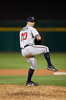Gwinnett Braves relief pitcher Philip Pfeifer (20) delivers a warmup pitch during a game against the Buffalo Bisons on August 19, 2017 at Coca-Cola Field in Buffalo, New York.  Gwinnett defeated Buffalo 1-0.  (Mike Janes/Four Seam Images)