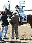 Tiz Miz Sue (no. 2), ridden by Joseph Rocco Jr. and trained by Steve Hobby, wins the 45th running of the grade 1 Ogden Phipps Handicap for fillies and mares three years old and upward on May 27, 2013 at Belmont Park in Elmont, New York.  (Bob Mayberger/Eclipse Sportswire)