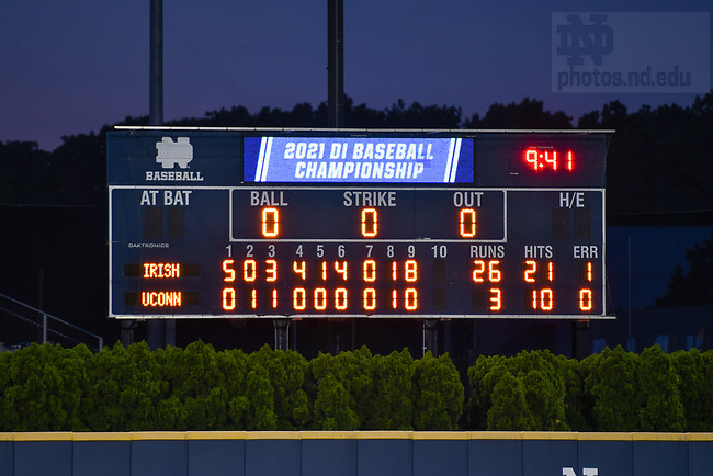 June 5, 2021; Notre Dame defeated Uconn 26-3 in the NCAA Baseball regional tournament at Eck Baseball Stadium. The 26 runs set a school record for most runs in an NCAA tournament game. (Photo by Matt Cashore/University of Notre Dame)