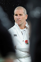 Stuart Lancaster, England Team Manager, looks on after the QBE International match between England and New Zealand at Twickenham Stadium on Saturday 8th November 2014 (Photo by Rob Munro)