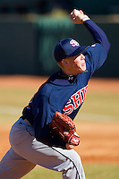 Starting pitcher Nick Umberger #29 of the Shippensburg Red Raiders in action against the Catawba Indians at Newman Park on February 12, 2011 in Salisbury, North Carolina.  Photo by Brian Westerholt / Four Seam Images