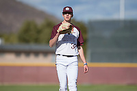 Mountain Ridge Mountain Lions starting pitcher Matthew Liberatore (32) during a game against the Boulder Creek Jaguars at Mountain Ridge High School on February 28, 2018 in Glendale, Arizona. Liberatore collected 14 strikeouts in his first appearance of the spring, leading the Mountain Lions to a 6-3 conference victory. (Zachary Lucy/Four Seam Images)