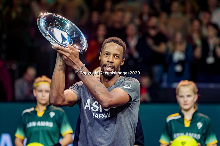 Rotterdam, The Netherlands, 16 Februari 2020, ABNAMRO World Tennis Tournament, Ahoy,<br /> Mens Single Final: Gaël Monfils (FRA)  gets the trophy <br /> Photo: www.tennisimages.com