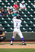 Jake Peter (3) of the Winston-Salem Dash at bat against the Carolina Mudcats at BB&T Ballpark on April 22, 2015 in Winston-Salem, North Carolina.  The Dash defeated the Mudcats 4-2..  (Brian Westerholt/Four Seam Images)