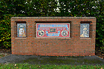 A memorial to the No1 pit in Hucknall which closed in 1943. Hucknall Town were formed as the works team for the colliery. Mining finished in the town in 1987. Hucknall Town v Heanor Town, 17th October 2020, at the Watnall Road Ground, East Midlands Counties League. Photo by Paul Thompson.