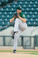 Lynchburg Hillcats starting pitcher Jarett Miller (18) in action against the Winston-Salem Dash at BB&T Ballpark on August 5, 2013 in Winston-Salem, North Carolina.  The Dash defeated the Hillcats 5-0.  (Brian Westerholt/Four Seam Images)