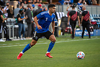SAN JOSE, CA - JULY 24: Luciano Abecasis #2 of the San Jose Earthquakes looks up to pass the ball before a game between San Jose Earthquakes and Houston Dynamo at PayPal Park on July 24, 2021 in San Jose, California.