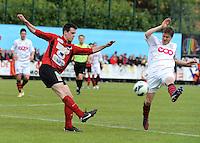 Izegem - FC Luik :..Arne Scheldeman (L) ontzet voor de aanstormende Benjamin Marechal (R)..foto VDB / BART VANDENBROUCKE