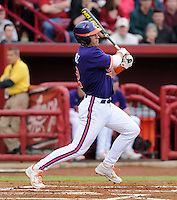 Shortstop Jason Stolz (2) of the Clemson Tigers in a game against the South Carolina Gamecocks on March 3, 2012, at Carolina Stadium in Columbia, South Carolina. Carolina won, 9-6. (Tom Priddy/Four Seam Images)