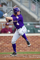 LSU Tigers outfielder Raph Rhymes (4) at bat against the Texas A&M Aggies in the NCAA Southeastern Conference baseball game on May 10, 2013 at Blue Bell Park in College Station, Texas. LSU defeated Texas A&M 7-4. (Andrew Woolley/Four Seam Images).