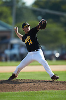 Statesville Owls relief pitcher Gordon Soffel (14) (Erskine College) in action against the High Point-Thomasville HiToms at Finch Field on July 19, 2020 in Thomasville, NC. The HiToms defeated the Owls 21-0. (Brian Westerholt/Four Seam Images)