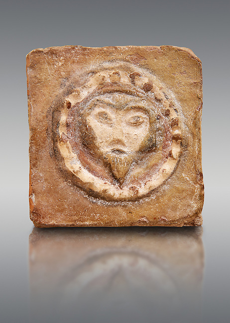 6th-7th Century Eastern Roman Byzantine  Christian Terracotta tiles depicting Christ - Produced in Byzacena -  present day Tunisia. <br />
