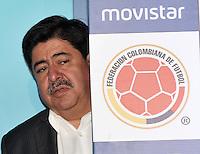 BOGOTA - COLOMBIA - 13-04-2015: Luis Bedoya, Presidente de la Federacion Colombiana de Futbol (FCF),  durante la renovación del patrocinio de Movistar como socio oficial de la Selección Colombia de Futbol. / Luis Bedoya, President of the Colombian Football Federation (FCF),  during the renewal of Movistar as sponsorship as official partner of Colombia Soccer Team.  / Photo: VizzorImage / Luis Ramirez / Staff.