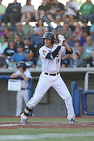 Galli Cribbs (14) of the Hillsboro Hops bats during a game against the Salem-Keizer Volcanoes at Ron Tonkin Field on July 27, 2015 in Hillsboro, Oregon. Hillsboro defeated Salem-Keizer, 9-2. (Larry Goren/Four Seam Images)
