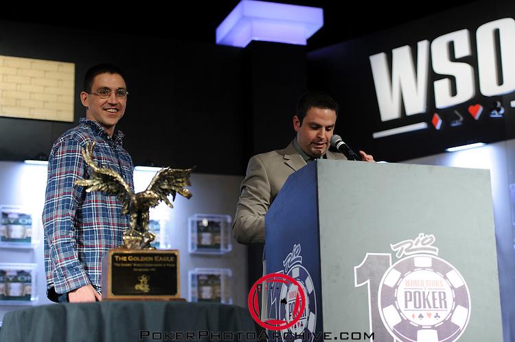 Jack Effel congratulates Gregory Kolo, Winner of Event #12: $1,500 Pot-Limit Hold'em