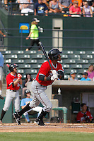 Carolina Mudcats infielder Carlos Franco (10) at bat during game one of a doubleheader against the Myrtle Beach Pelicans at Ticketreturn.com Field at Pelicans Ballpark on June 6, 2015 in Myrtle Beach, South Carolina. Carolina defeated Myrtle Beach 1-0. (Robert Gurganus/Four Seam Images)
