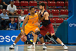 Herbalife Gran Canaria's player Richard Hendrix and FC Barcelona Lassa Ante Tomic during the final of Supercopa of Liga Endesa Madrid. September 24, Spain. 2016. (ALTERPHOTOS/BorjaB.Hojas)