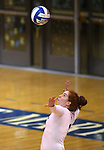 Marymount's Cassidie Watson serves in a college volleyball game in Lexington Park, MD, on Wednesday, Oct. 29, 2014. Marymount won 3-2 to go 24-9 on the season.<br /> Photo by Cathleen Allison