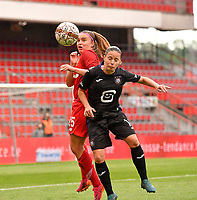 Davinia Vanmechelen (25) of Standard pictured fighting for the ball with Stefania Vatafu (10) of Anderlecht during a female soccer game between Standard Femina de Liege and RSC Anderlecht on the 8th matchday in play off 1 of the 2020 - 2021 season of Belgian Scooore Womens Super League , tuesday 18 th of May 2021  in Angleur , Belgium . PHOTO SPORTPIX.BE | SPP | DAVID CATRY