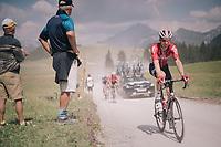 Marcel Sieberg (DEU/Lotto-Soudal) over the gravel roads up the Montée du plateau des Glières (HC/1390m)<br /> <br /> Stage 10: Annecy > Le Grand-Bornand (159km)<br /> <br /> 105th Tour de France 2018<br /> ©kramon