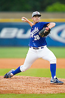 Burlington Royals starting pitcher Zach Lovvorn (28) in action against the Princeton Rays at Burlington Athletic Park on July 5, 2013 in Burlington, North Carolina.  The Royals defeated the Rays 5-4 in game two of a doubleheader.  (Brian Westerholt/Four Seam Images)